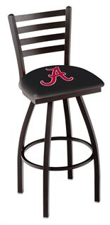 L014 - Black Wrinkle Alabama Swivel Bar Stool with Ladder Style Back by HBS Co.(ALogo)