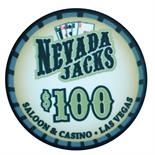 Nevada Jacks Saloon Series Ceramic 10 Gram Poker Chip $100
