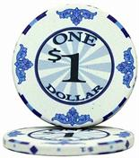$1 Scroll 10 Gram Ceramic Poker Chip Sold by the Roll 25 pcs. per Roll