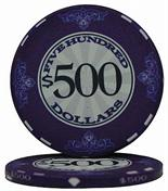 $500 Scroll 10 Gram Ceramic Poker Chip Sold by the Roll 25 pcs. per Roll