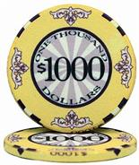 $1000 Scroll 10 Gram Ceramic Poker Chip Sold by the Roll 25 pcs. per Roll