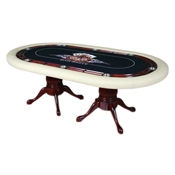 Furniture Poker Table with Racetrack Chip Holder and Stainless Steel Cup Holders