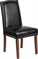 Black Leather Parsons Poker Chair with Silver Nail Heads