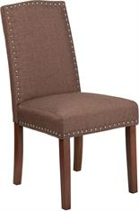 Brown Fabric Parsons Chair with Silver Nail Heads