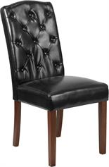 Black Leather Tufted Parsons Chair