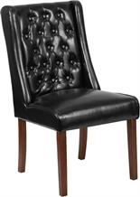 Black Leathersoft Tufted Parsons Wide Poker Chair