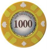 Stripe Suited V2 Clay Poker Chip $1000 13.5g Sold by the Roll