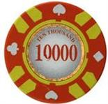 Stripe Suited V2 Clay Poker Chip $10000 13.5g Sold by the Roll