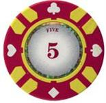 Stripe Suited V2 Clay Poker Chip $5 13.5g Sold by the Roll