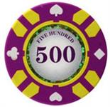 Stripe Suited V2 Clay Poker Chip $500 13.5g Sold by the Roll