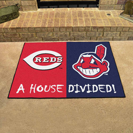 MLB - Cincinnati Reds - MLB - Cleveland Indians House Divided Rugs 33.75x42.5
