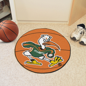 Miami Logo B Basketball Mat 27 diameter