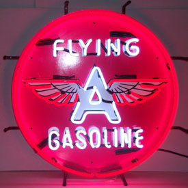Gas - Flying A Gasoline Neon Sign