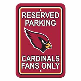 Arizona Cardinals Plastic Parking Sign - Reserved Parking