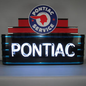 Art Deco Marquee Pontiac Neon Sign In Steel Can