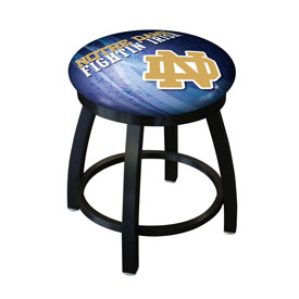 "18"" L8B2B-18 - Black Wrinkle Notre Dame (ND) Swivel Stool with Accent Ring by Holland Bar Stool Company"