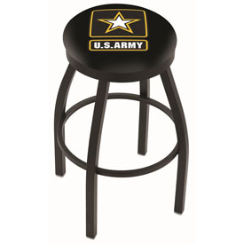 L8B2B - Black Wrinkle U.S. Army Swivel Bar Stool with Accent Ring by Holland Bar Stool Company