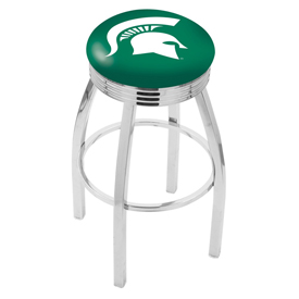 L8C3C - Chrome Michigan State Swivel Bar Stool with 2.5 Ribbed Accent Ring by Holland Bar Stool Company