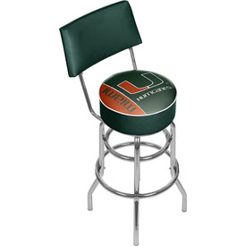 University of Miami Swivel Bar Stool with Back - Text