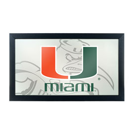University of Miami Framed Logo Mirror with Sebastian - Fade