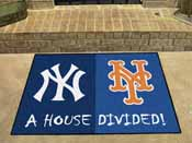 MLB - New York Yankees - MLB - New York Mets House Divided Rugs 33.75x42.5
