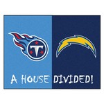 NFL - San Diego Chargers - Tennessee Titans House Divided Rugs 33.75x42.5