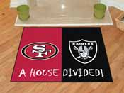 NFL - San Francisco 49ers - Las Vegas Raiders House Divided Rugs 33.75x42.5