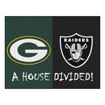 NFL - Green Bay Packers - Oakland Raiders House Divided Rugs 33.75x42.5
