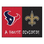 NFL- Houston Texans - New Orleans Saints House Divided Rugs 33.75x42.5