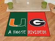Miami Hurricanes - Georgia Bulldogs House Divided Rugs 33.75x42.5