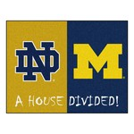 Notre Dame / Michigan House Divided Rug 33.75x42.5