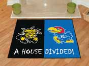 Wichita State / Kansas House Divided Rug 33.75x42.5