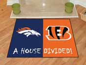 NFL - Denver Broncos/Cincinati Bengals House Divided Rugs 33.75x42.5