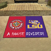 UL-Lafayette / LSU House Divided Rug 33.75x42.5