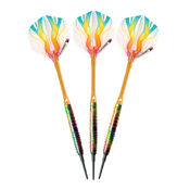 Elkadart Rainbow 90% Tungsten Soft Tip Darts Multi Color Titanium Coating 18 Grams