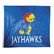 Kansas Jayhawks 2-sided Nylon Applique 3 Ft x 5 Ft Flag w/ grommets