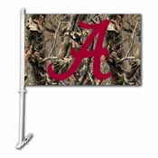 Alabama Crimson Tide Car Flag W/Wall Brackett - Realtree Camo Background