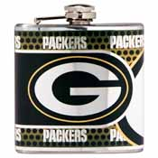 Green Bay Packers Stainless Steel 6 oz. Flask with Metallic Graphics