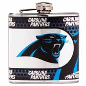 Carolina Panthers Stainless Steel 6 oz. Flask with Metallic Graphics