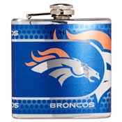 Denver Broncos Stainless Steel 6 oz. Flask with Metallic Graphics