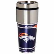 Denver Broncos 16 oz. Stainless Steel Travel Tumbler Metallic Graphics