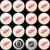 Detroit Redwings Home & Away Billiard Ball Set