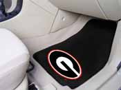 Georgia G Logo on Black 2-piece Carpeted Car Mats 17x27