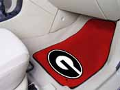 Georgia G Logo on Red 2-piece Carpeted Car Mats 17x27