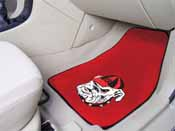 Georgia Bulldogs on Red 2-piece Carpeted Car Mats 17x27
