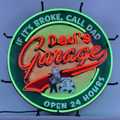 Dad'S Garage Neon Sign With Backing 24