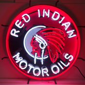 Gas - Red Indian Motor Oils Neon Sign