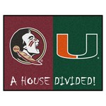 Florida State-Miami House Divided Rugs 33.75x42.5
