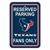 Houston Texans Plastic Parking Sign - Reserved Parking