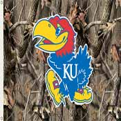 Kansas Jayhawks 3 Ft. X 5 Ft. Flag W/Grommets - Realtree Camo Background